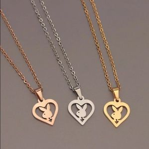 Stainless Steel Playboy heart pendant necklace
